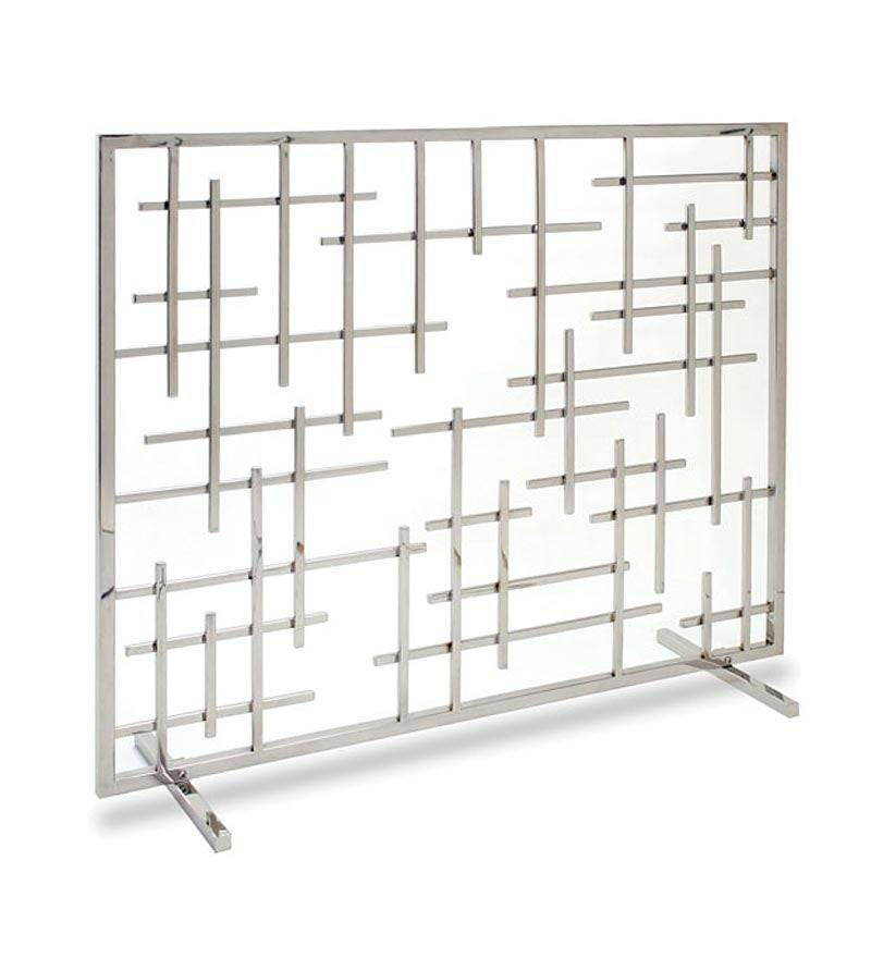 PILGRIM HOME & HEARTH LLC Contemporary Single-Panel Fireplace Fire Screen, in Polished Nickel