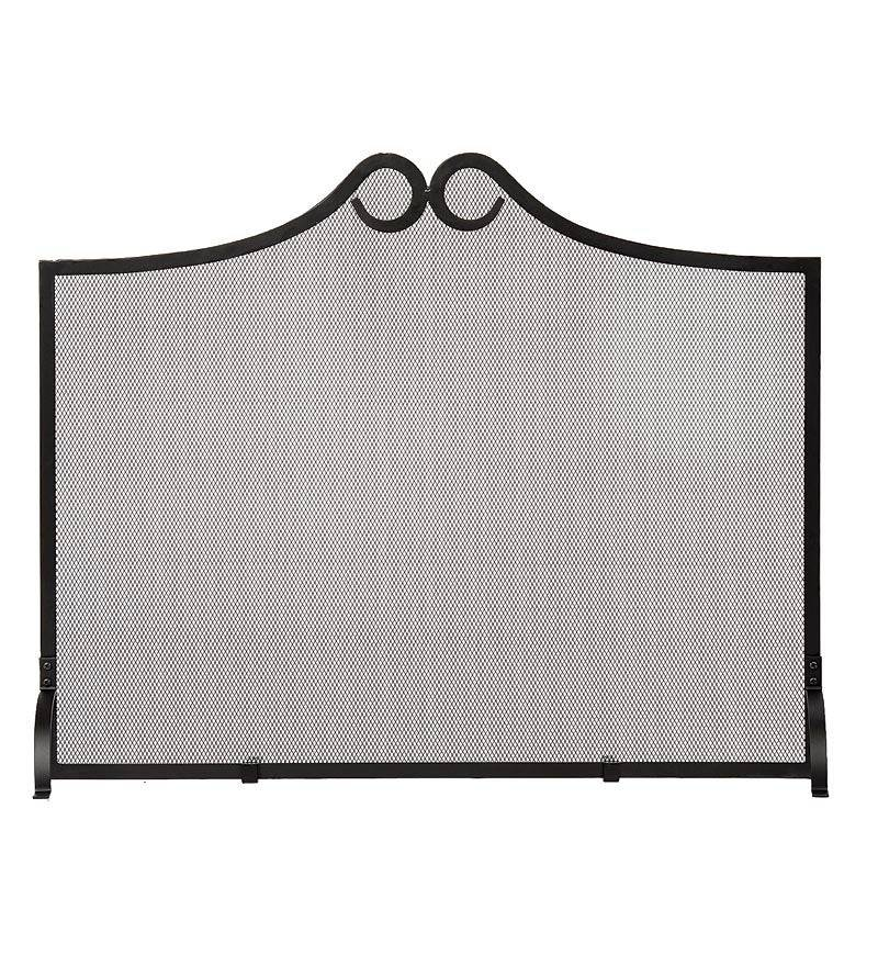 MINUTEMAN INTL/ACHLA DESIGNS Wrought Iron Scrolled Arch Single Panel Fireplace Screen
