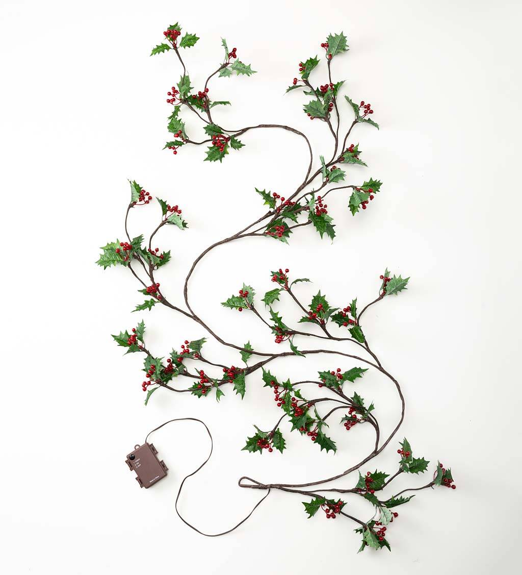 HAIRUI DECORATION LIGHTS/CP Indoor/Outdoor Holly and Berry Lighted Holiday Garland