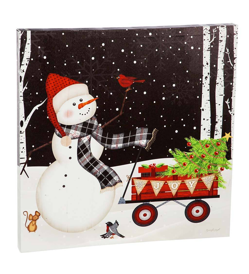 EVERGREEN ENTERPRISES INC. LED Snowman and Red Wagon Light-Up Wall Art