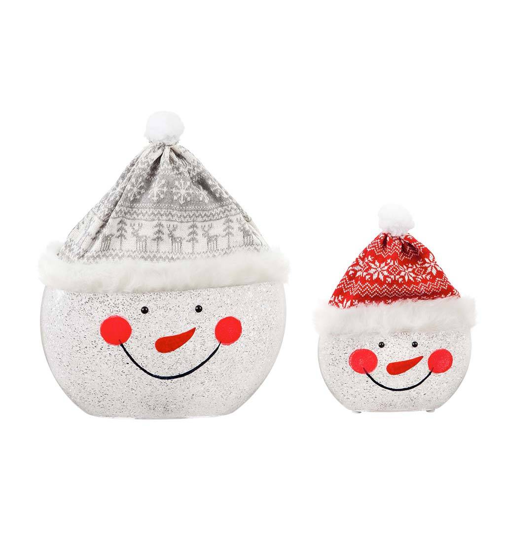 EVERGREEN ENTERPRISES INC. LED Snowman Face Tabletop Décor, Set of 2