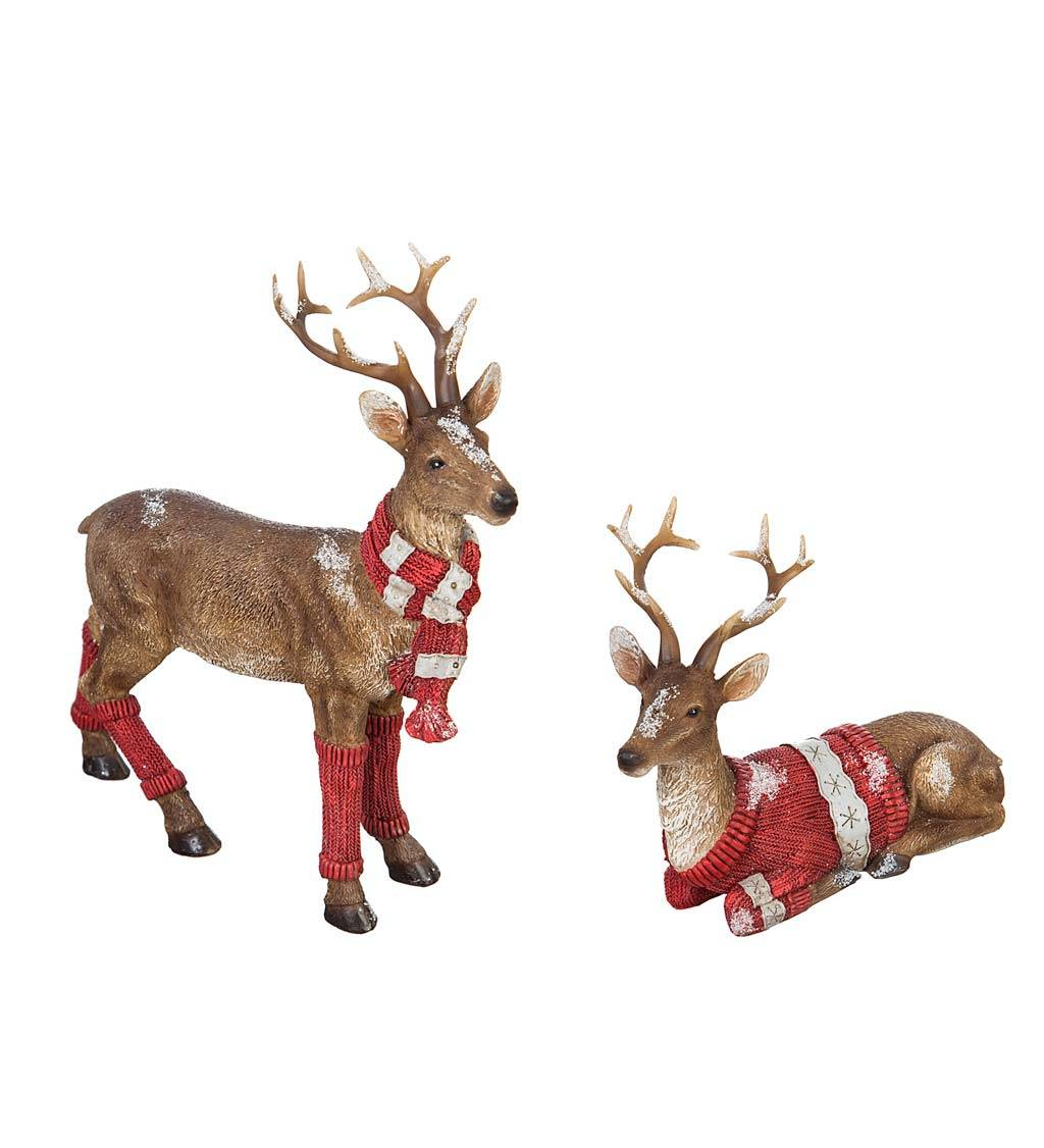 EVERGREEN ENTERPRISES INC. Woodland Deer in Holiday Knits, Set of 2