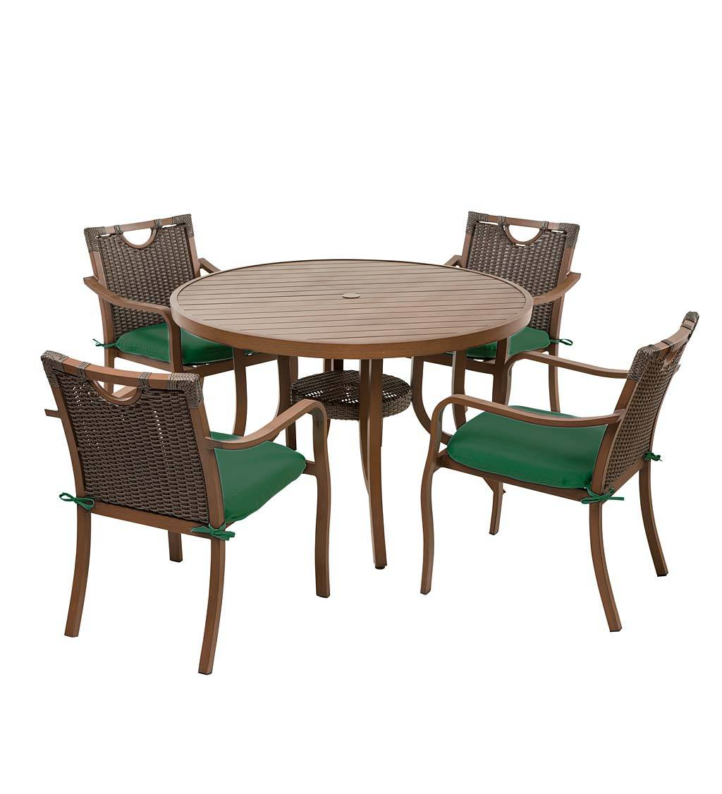 HESHAN CAMIS INDUSTRIAL CO.,LTD Urbanna Wicker Dining Table and Chairs Set with Cushions