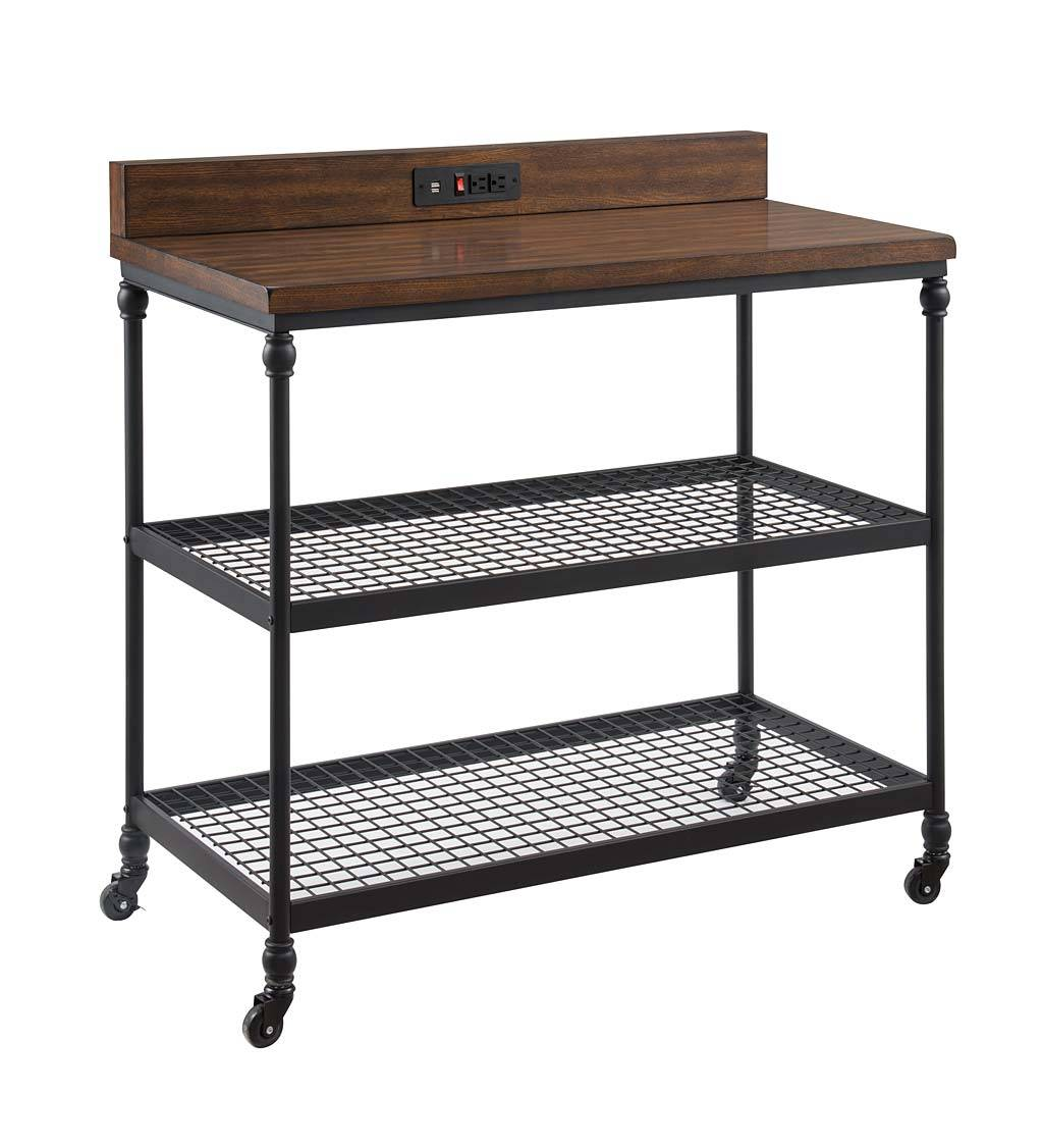 ONE SOURCE LIVING Covington Wheeled Kitchen Cart with Power Outlets and USB Charging Ports