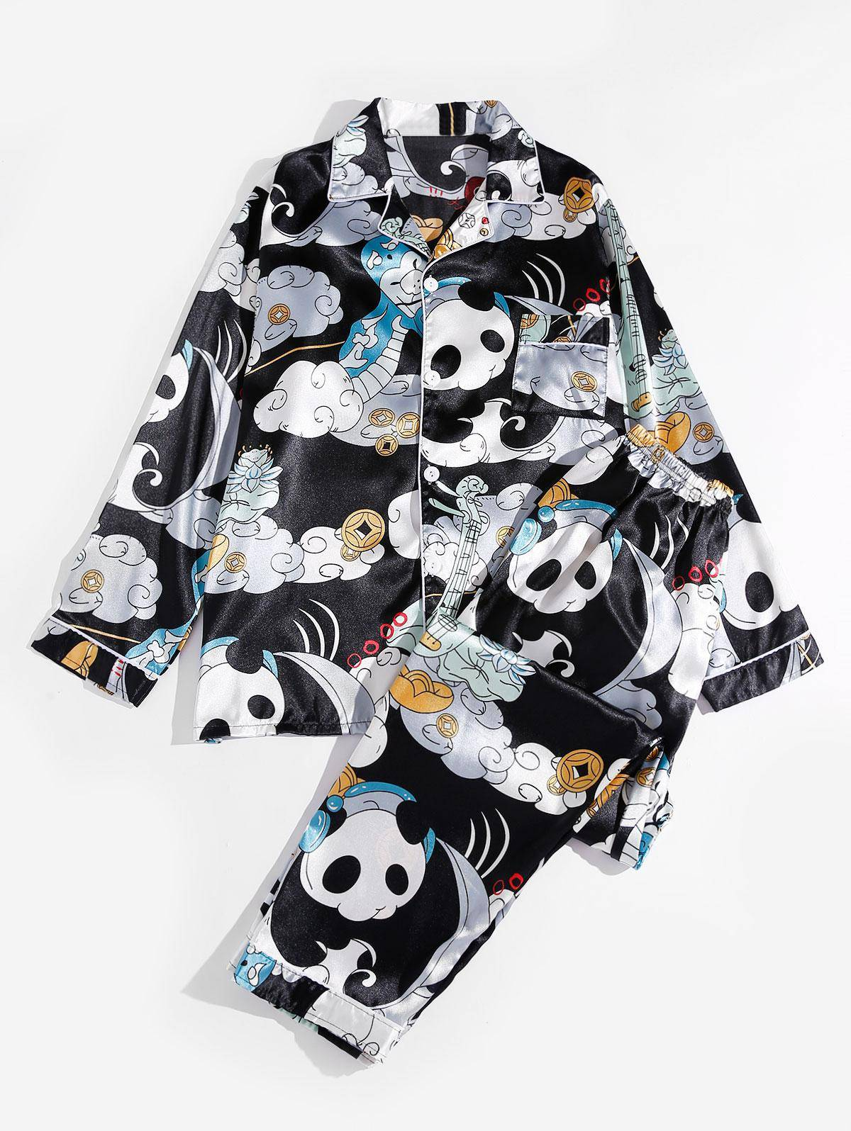Panda Playing Music Panda Print Graphic Silky Pajama Set in MULTI - Size: Extra Small