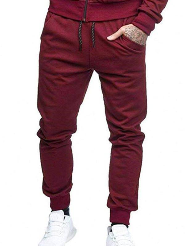 Solid Side Pockets Sports Jogger Pants in RED WINE - Size: Small