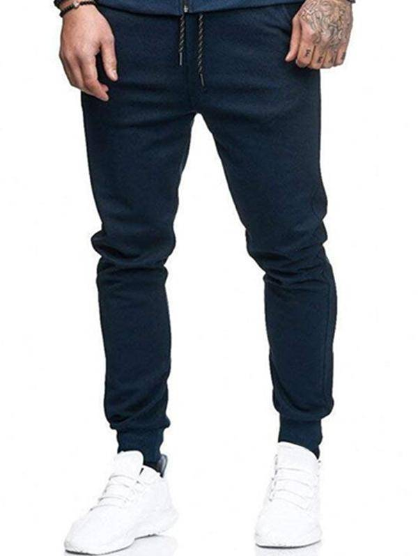 Solid Side Pockets Sports Jogger Pants in CADETBLUE - Size: Medium