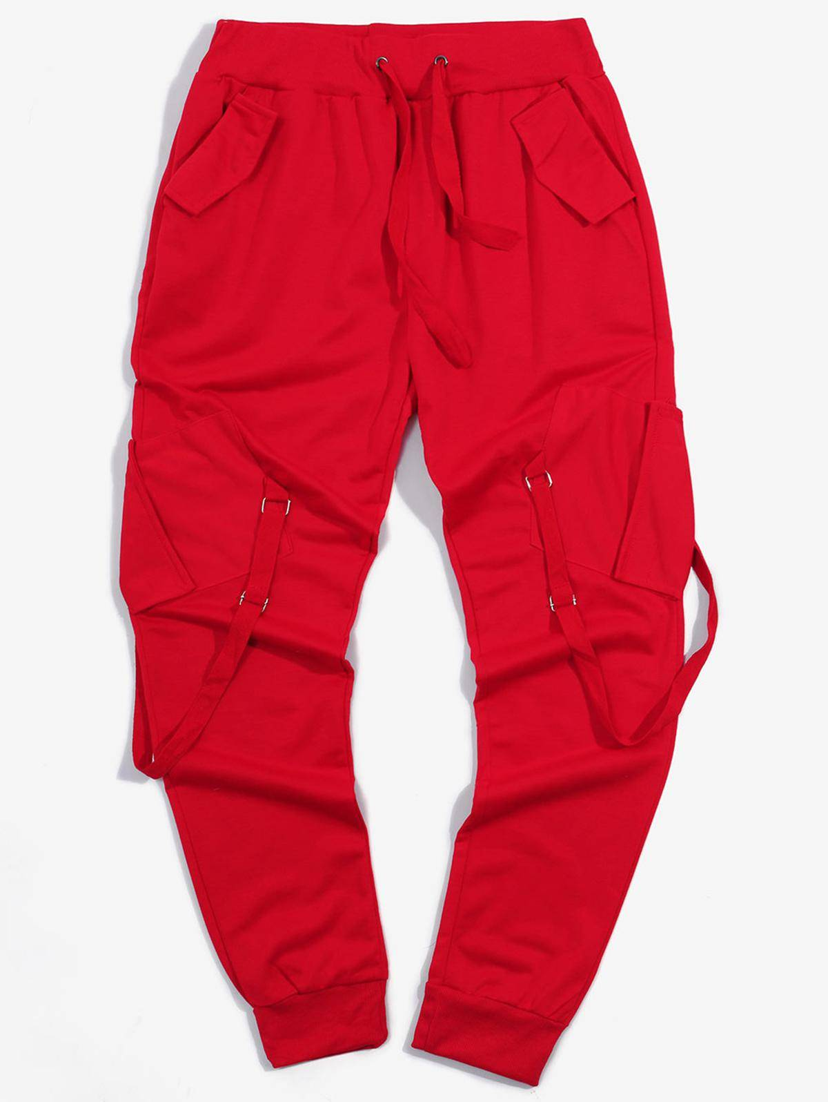 Ribbon Pockets Long Elastic Sport Cargo Pants in RED - Size: 3X-Large