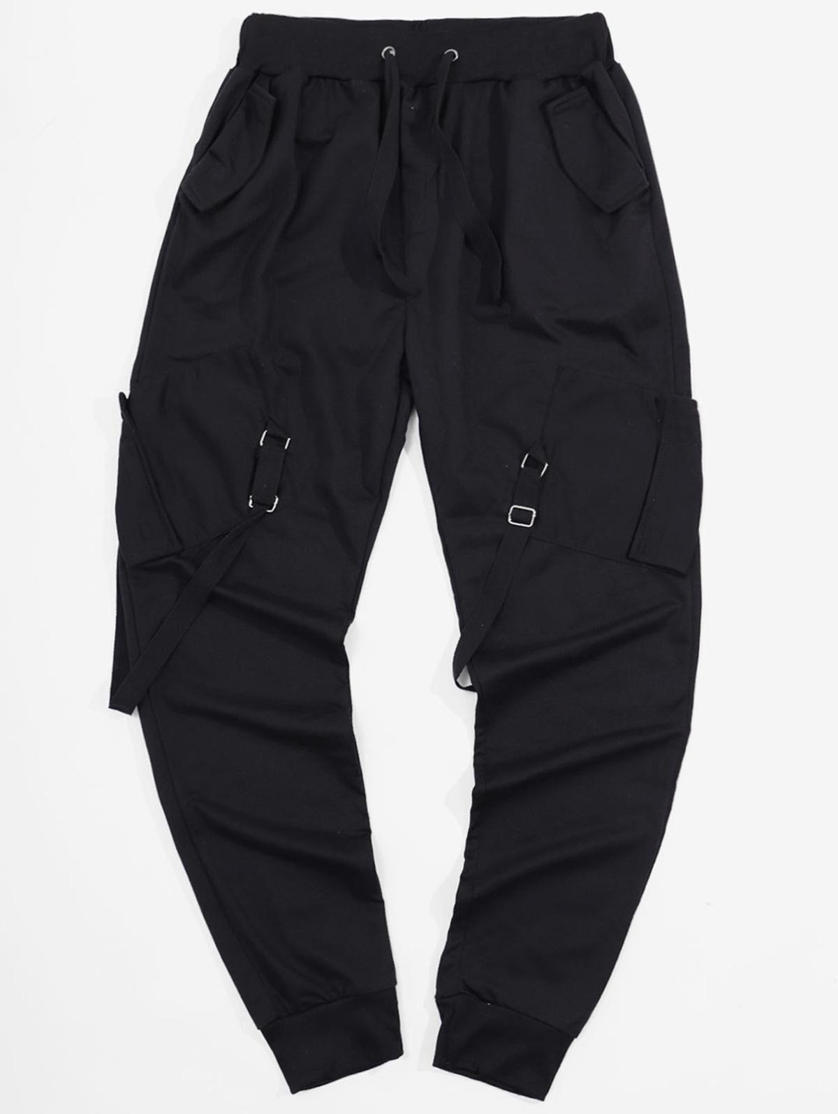 Ribbon Pockets Long Elastic Sport Cargo Pants in BLACK - Size: Large