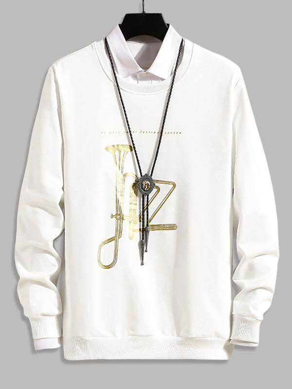 Music Horn Graphic Crew Neck Lounge Sweatshirt in WHITE - Size: Small