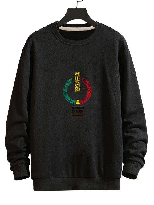 Music Switch Power Graphic Drop Shoulder Casual Sweatshirt in BLACK - Size: Small