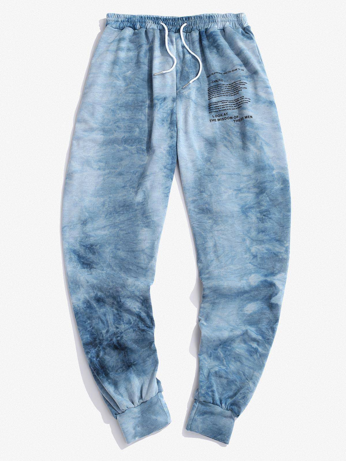 Tie Dye Letter Graphic Print Sports Pants in DEEP BLUE - Size: Extra Large