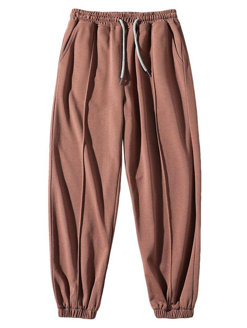 Solid Elastic Waist Sport Jogger Sweatpants in LIGHT COFFEE - Size: Large