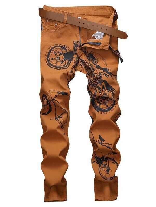 Long Motorcycle Bike Pattern Jeans in DARK ORANGE - Size: 32