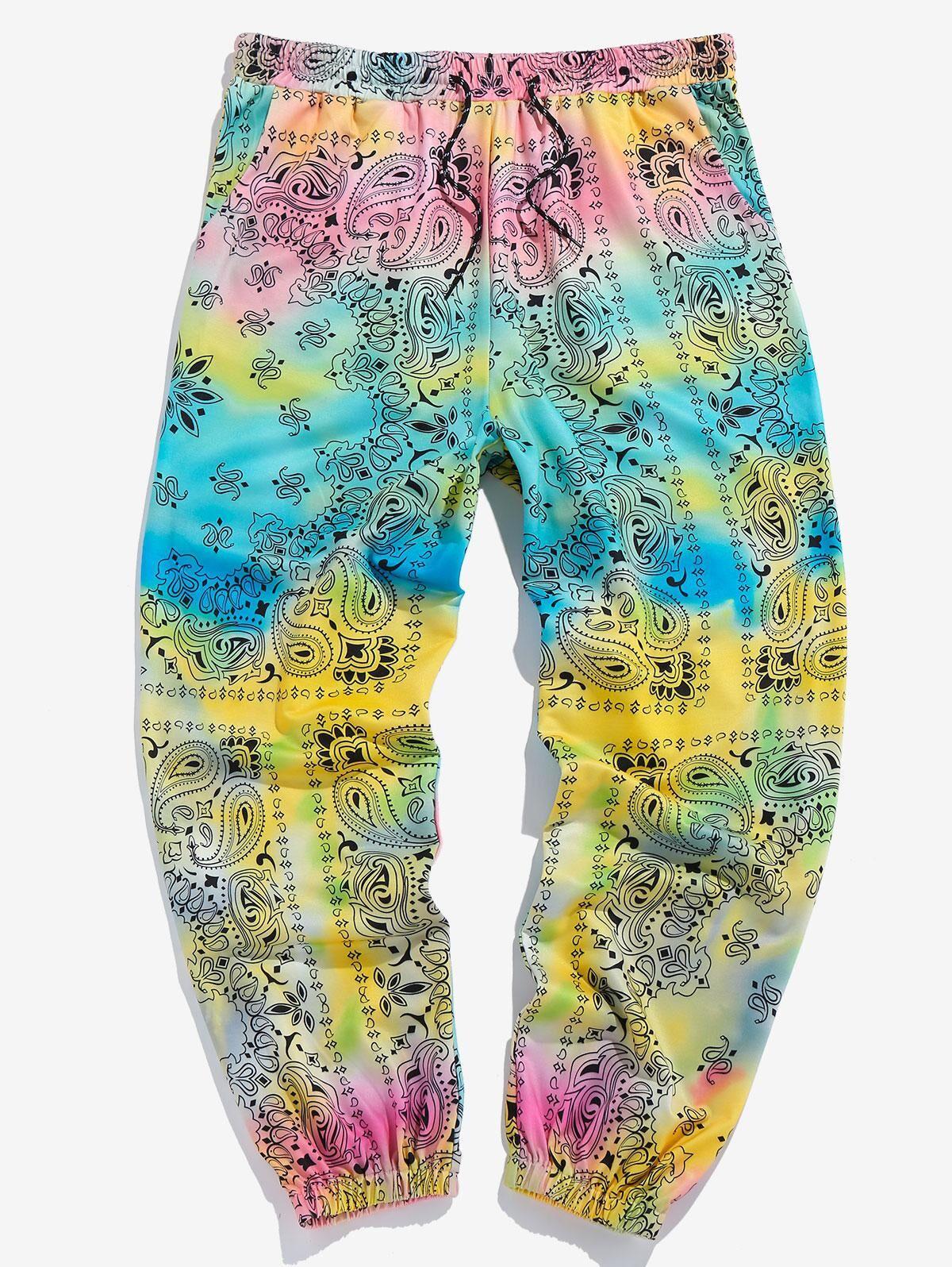 ZAFUL Tie Dye Paisley Print Sports Pants in MULTI - Size: 2X-Large