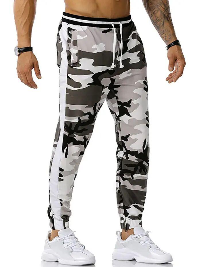 Camouflage Print Zipper Slit Sports Pants in GRAY - Size: Medium
