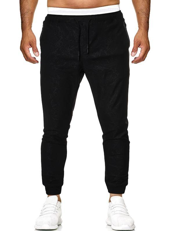 Drawstring Stitching Detail Jacquard Sports Pants in BLACK - Size: Large