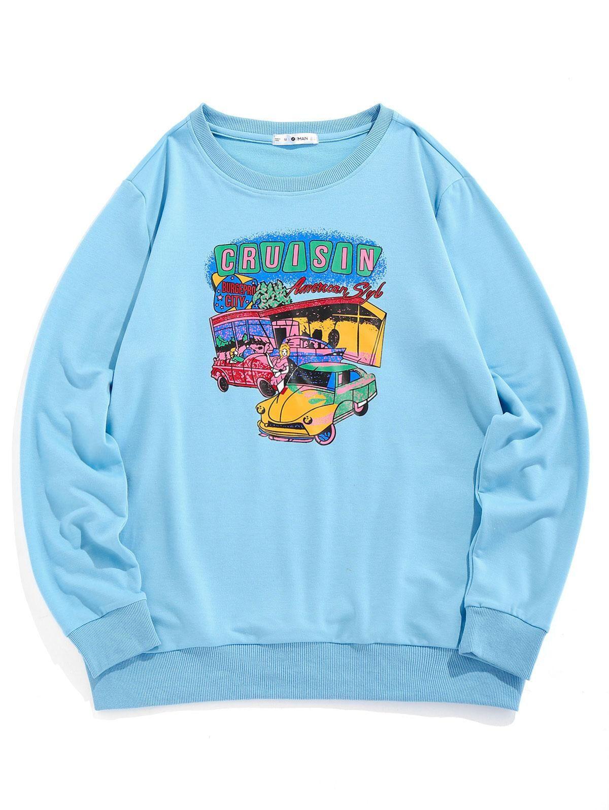 ZAFUL Cartoon Car Print Graphic Sweatshirt in LIGHT BLUE - Size: Small