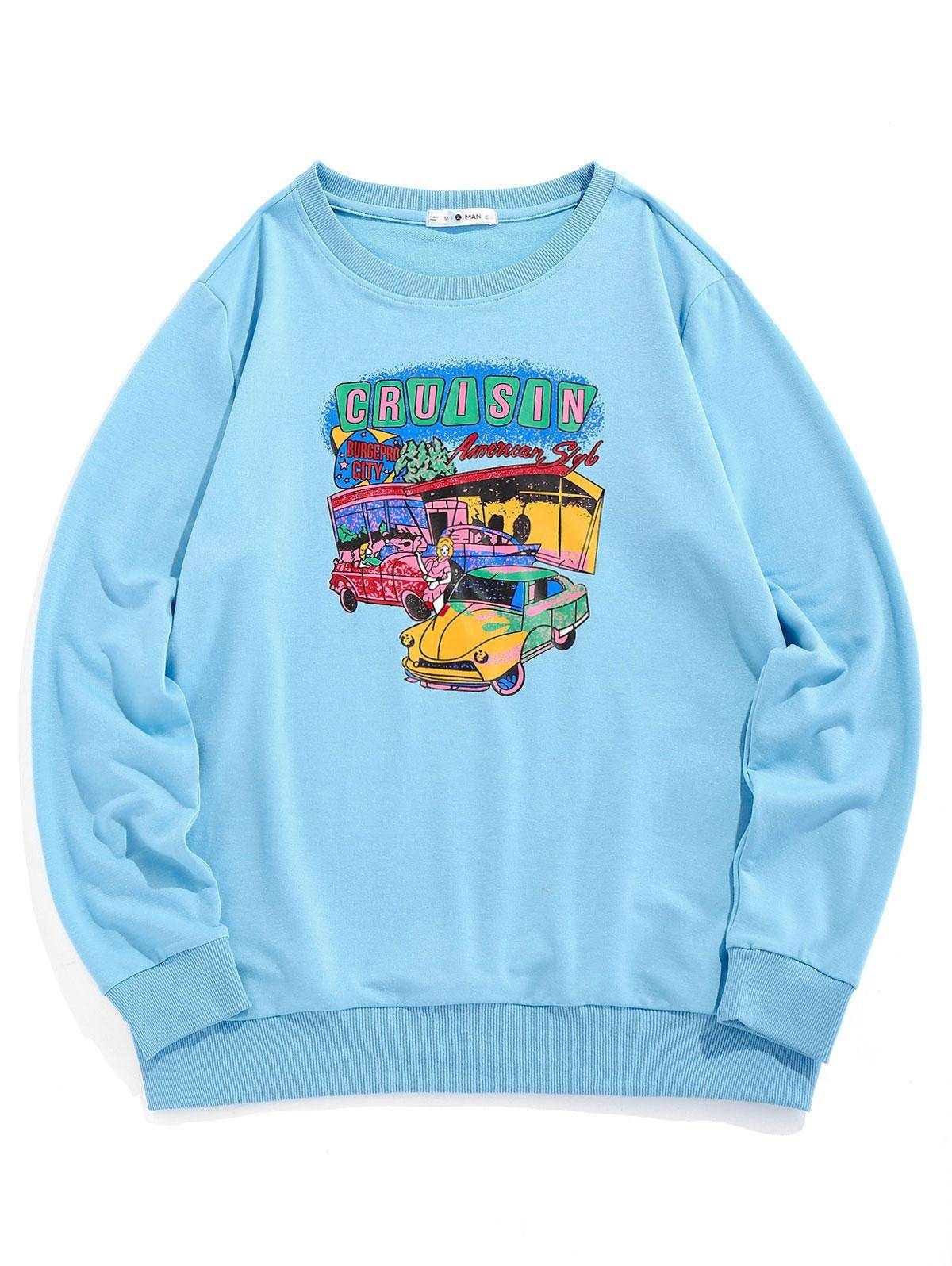 ZAFUL Cartoon Car Print Graphic Sweatshirt in LIGHT BLUE - Size: 2X-Large