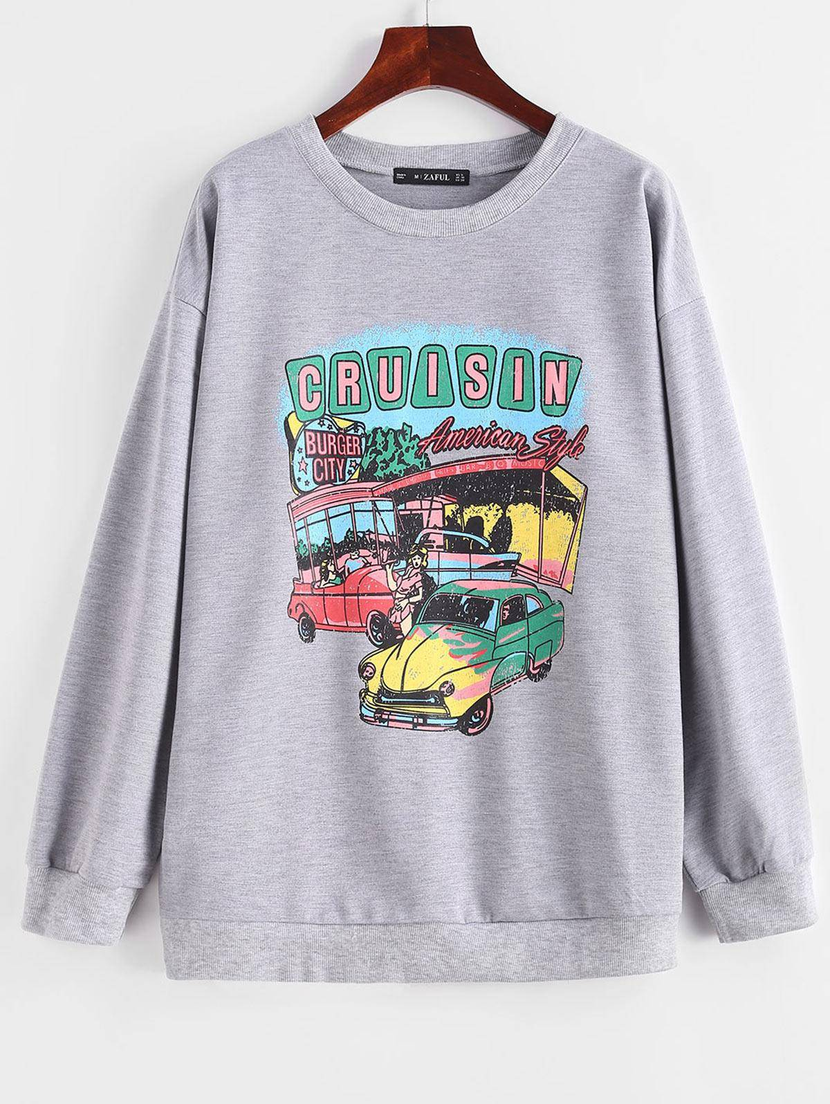 Letter Car Print Drop Shoulder Pullover Sweatshirt in LIGHT GRAY - Size: Small