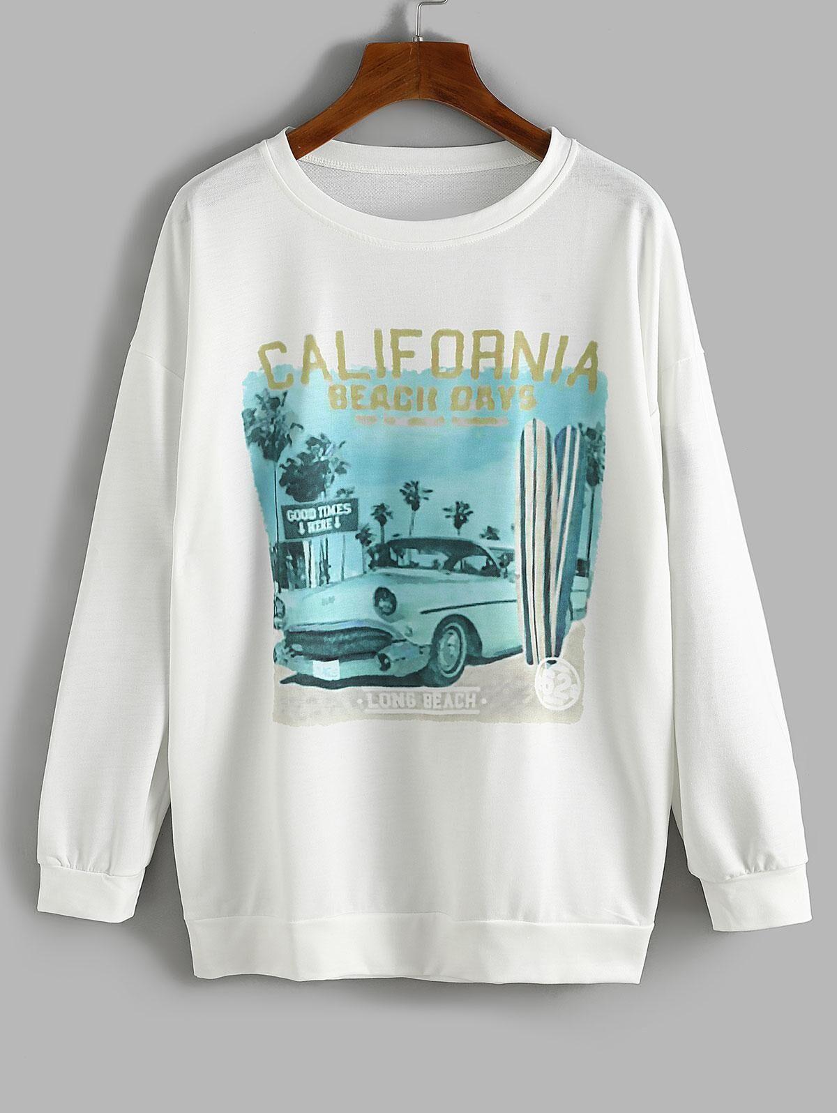 Oversize Car CALIFORNIA Graphic Sweatshirt in WHITE - Size: Medium