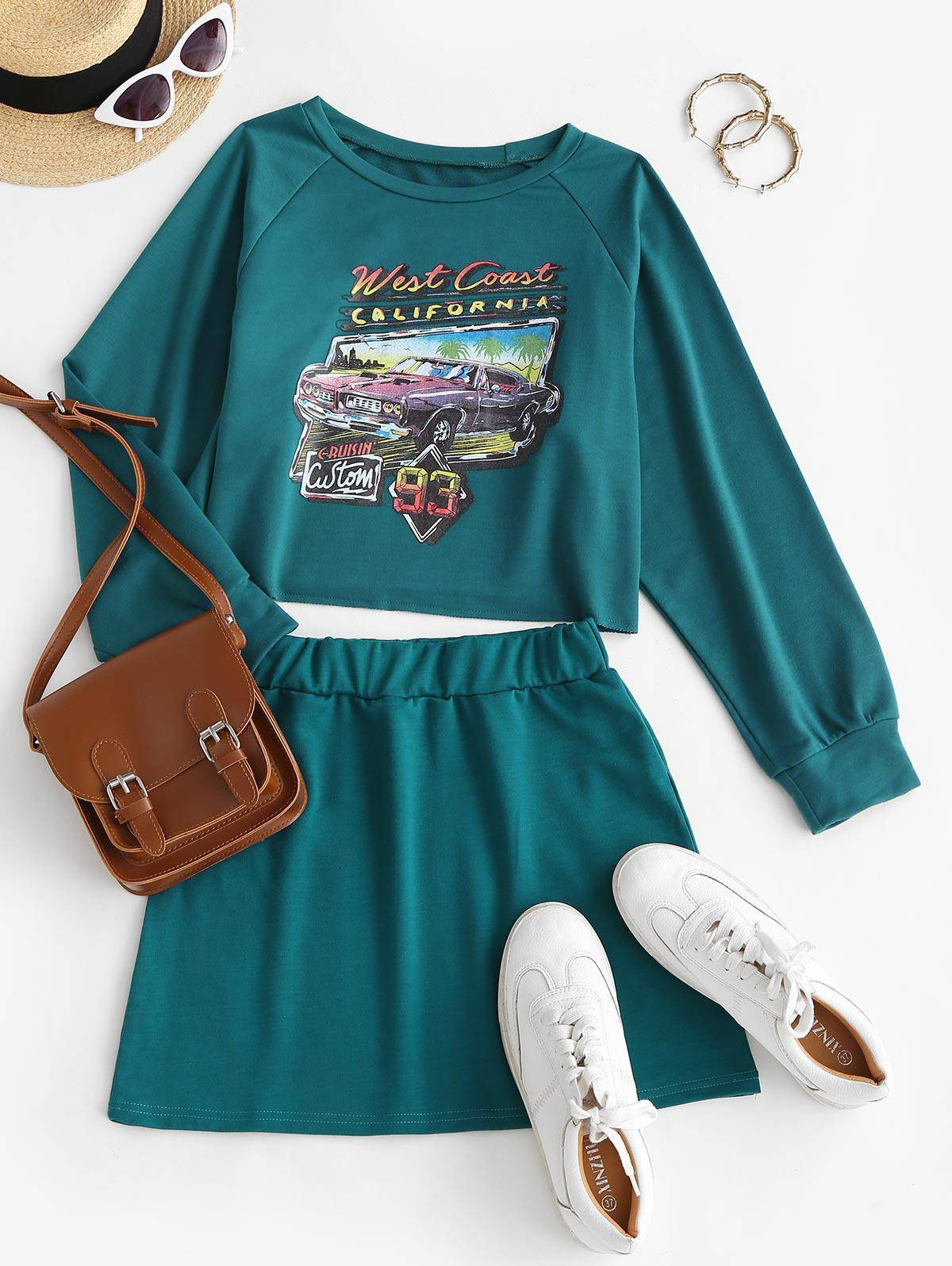 Car CALIFORNIA Graphic Sweat Two Piece Dress in DEEP GREEN - Size: Small