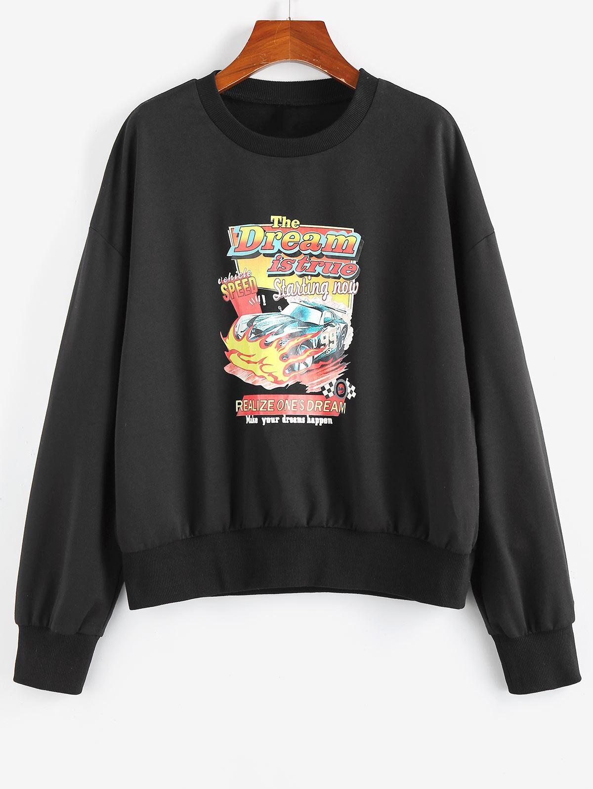 ZAFUL Graphic Car Print Sweatshirt in BLACK - Size: Small