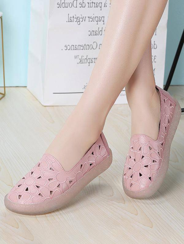 Floral Embroidery Hollow Out Flat Shoes in PINK - Size: EU 40