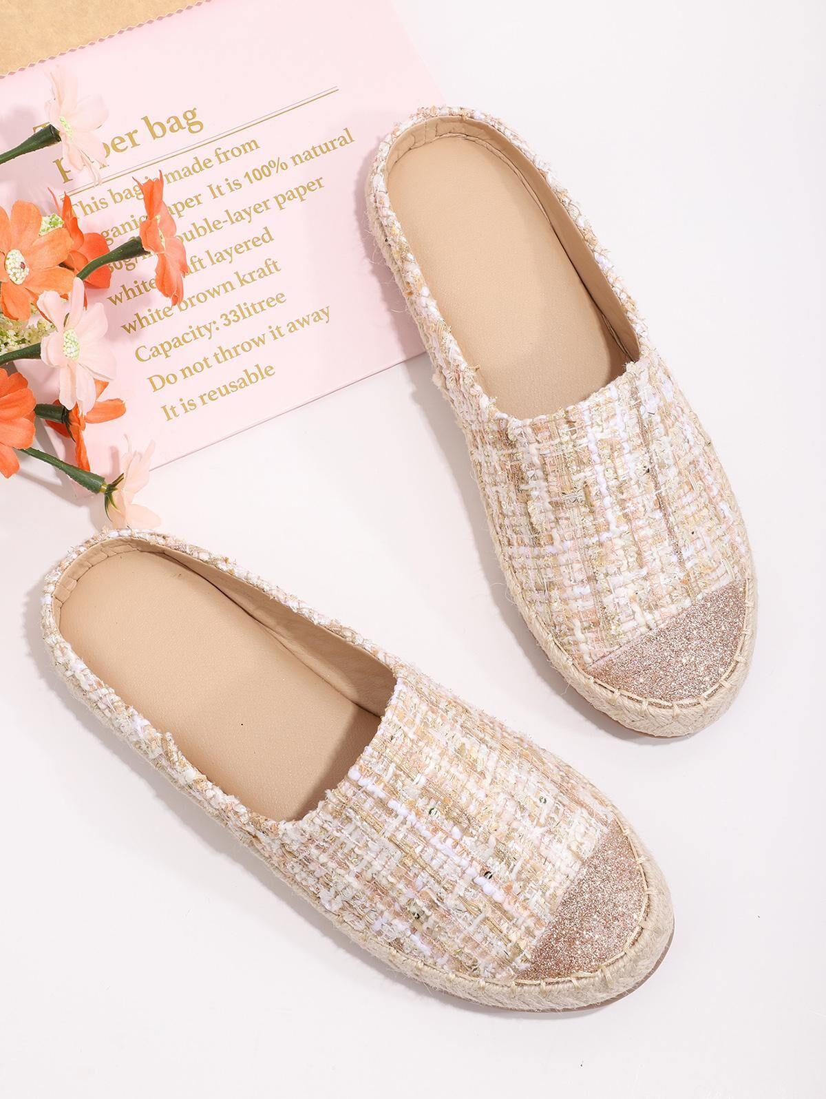 Shiny Toe Tweed Half Flat Shoes in SAKURA PINK - Size: EU 39