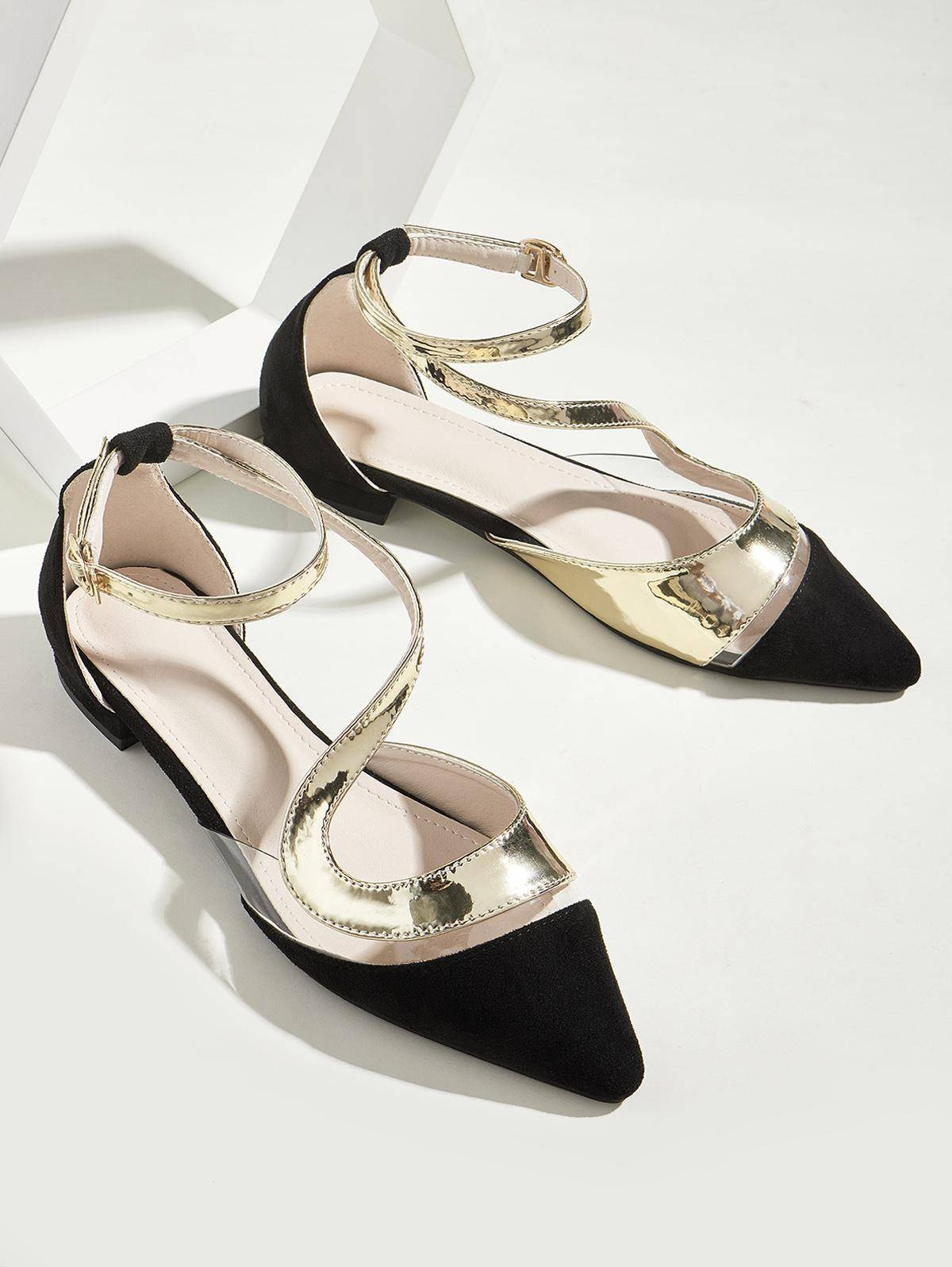 Transparent Panel Pointed Toe Ankle Strap Flat Shoes in BLACK - Size: EU 38