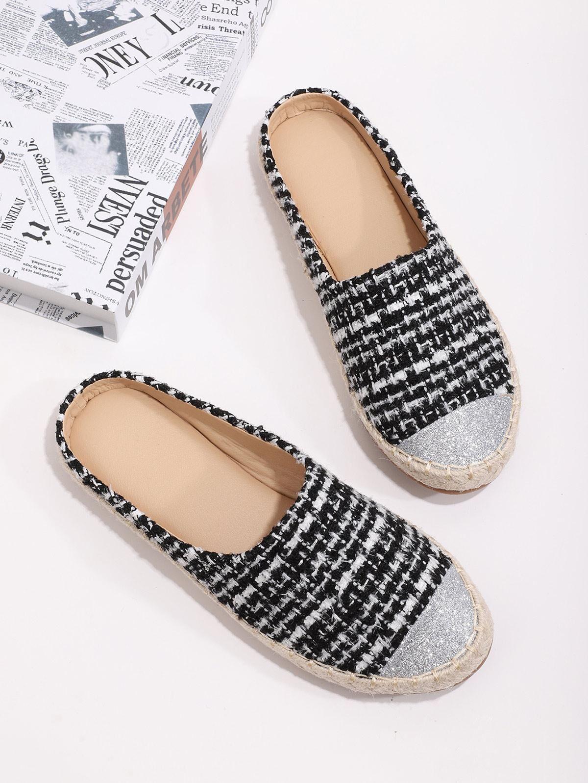Shiny Toe Tweed Espadrilles Half Flat Shoes in BLACK - Size: EU 40