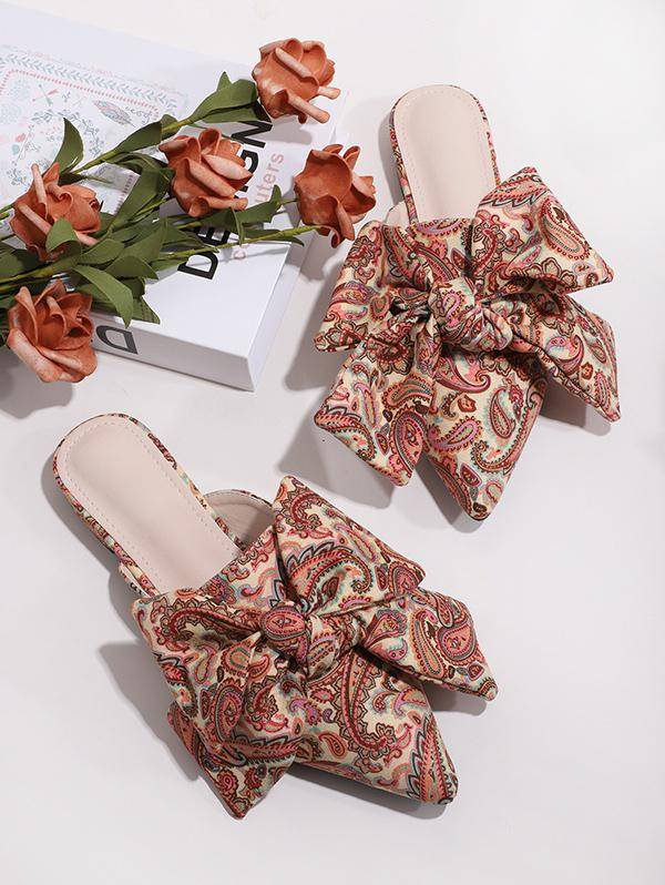 Paisley Printed Bowknot Flat Shoes in MULTI-A - Size: EU 38