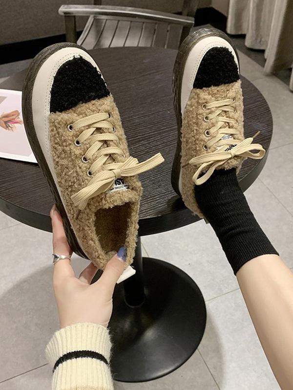 Colorblock Teddy Faux Fur Lace Up Shoes in KHAKI - Size: EU 38