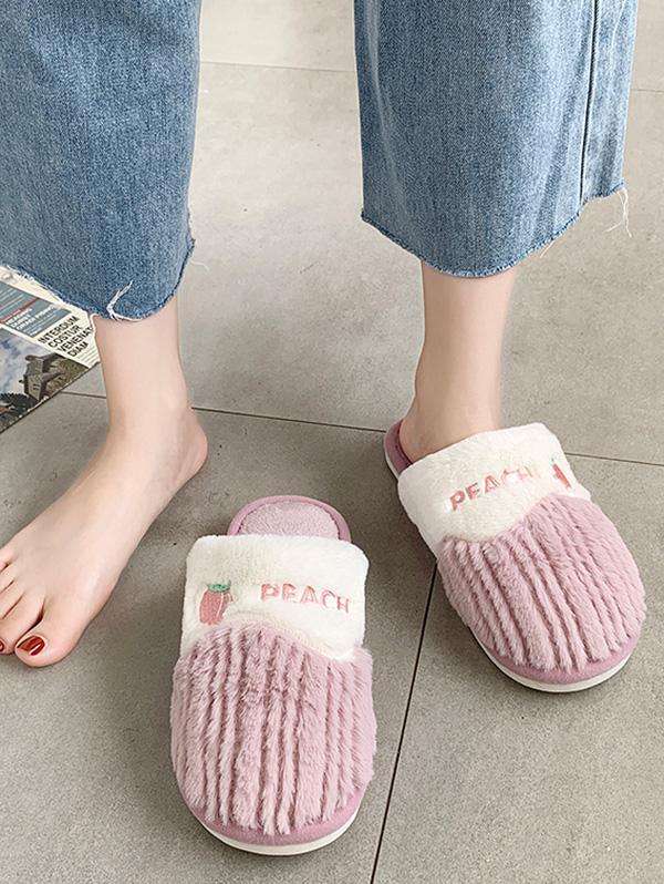Fruit Pattern Fluffy Home Slippers in PURPLE - Size: EU 38