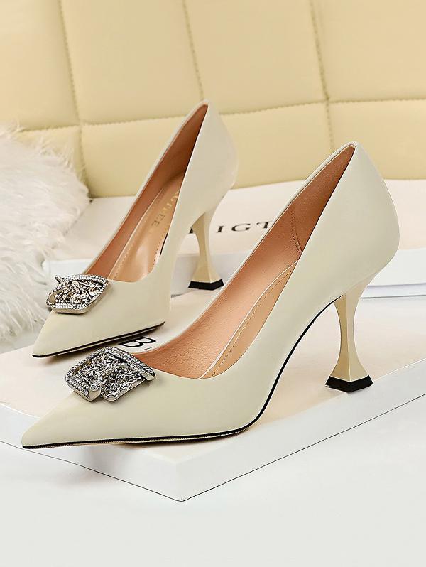 Metal Rhinestone High-heeled Shoes in WHITE - Size: EU 37