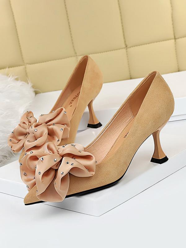 Rhinestone Bowknot High Heel Shoes in APRICOT - Size: EU 38
