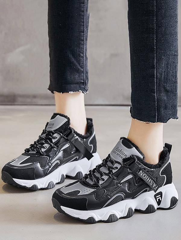 Colorblock Casual Fluffy Sports Sneakers in BLACK - Size: EU 38