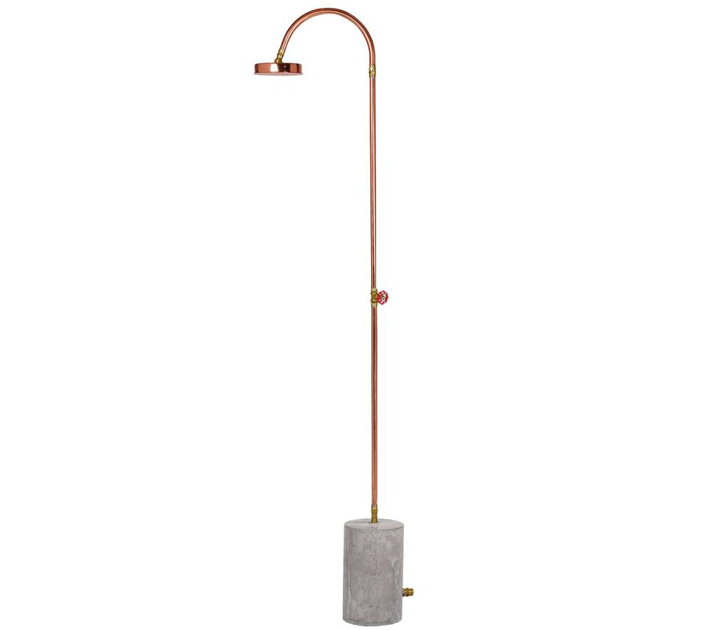 Aquart, Outdoor Copper Shower with Concrete Base