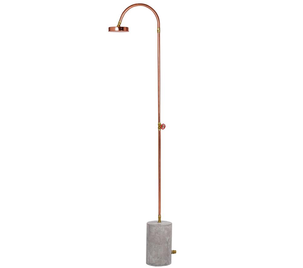 Aquart, Outdoor Copper Shower with Concrete Base