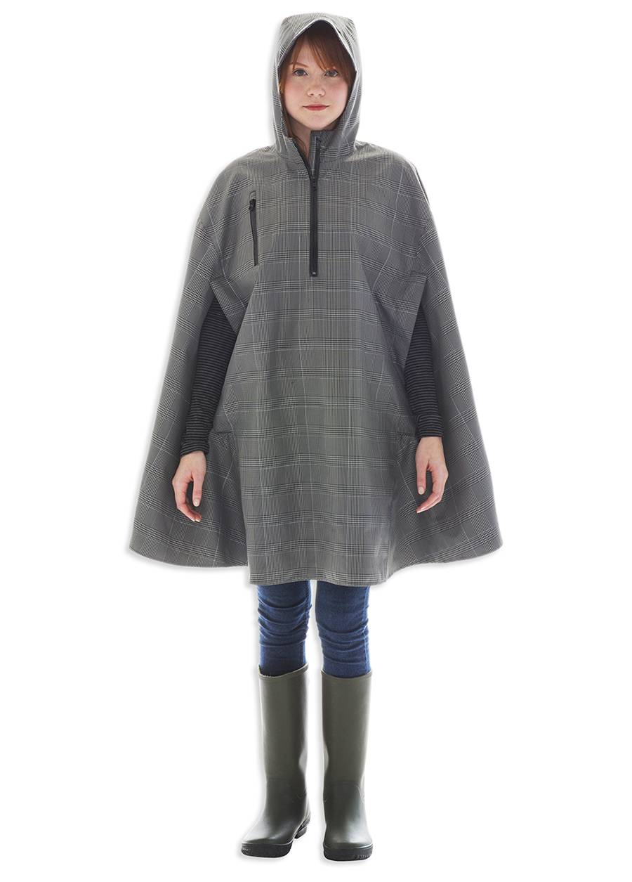 Electric Houndstooth, High-Performance Rain Cape by Cleverhood
