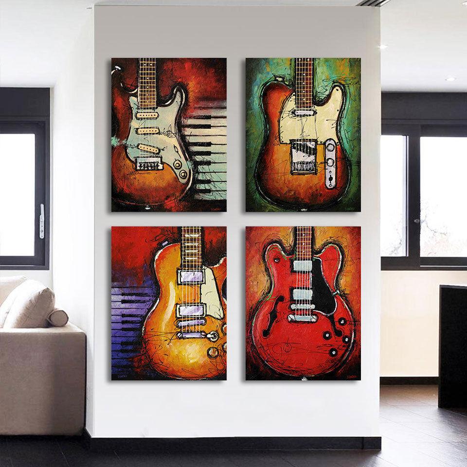 4-Piece Abstract Musical Guitars Canvas Wall Art
