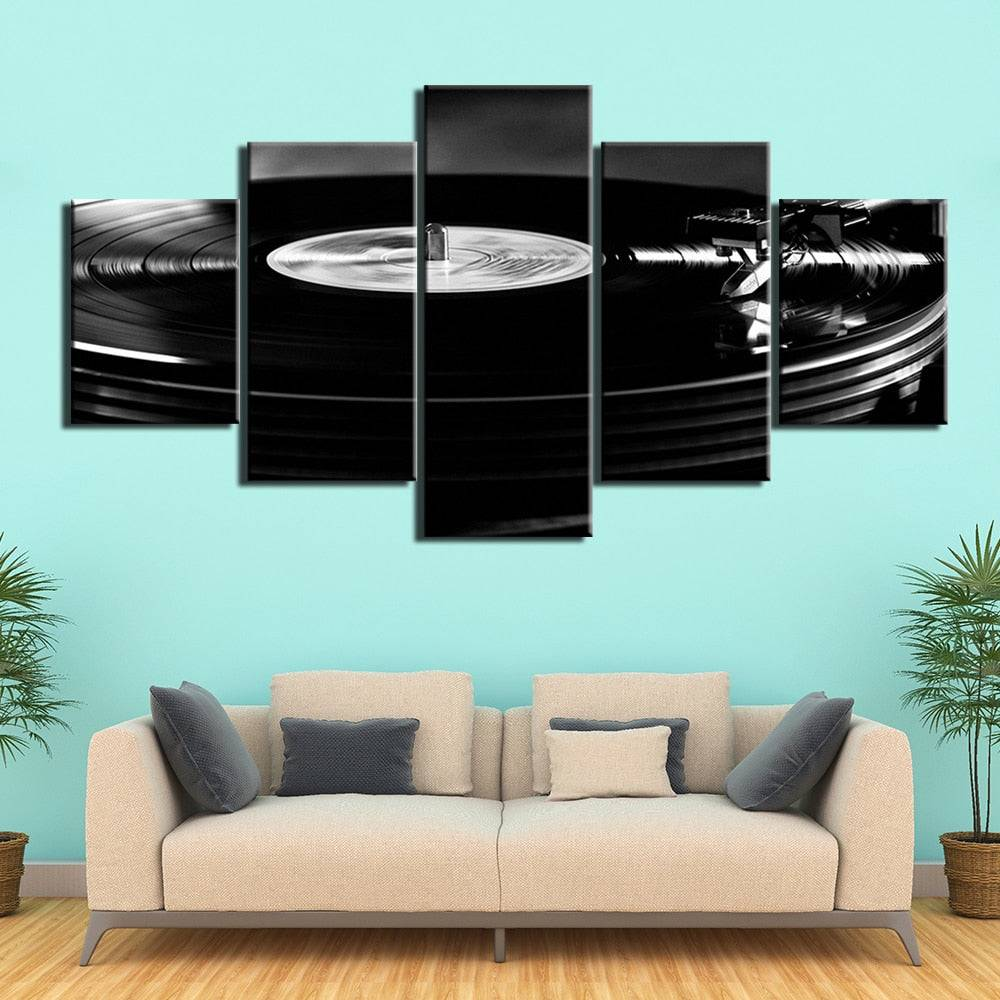 5-Piece Black Vinyl Record Turntable Canvas Wall Art