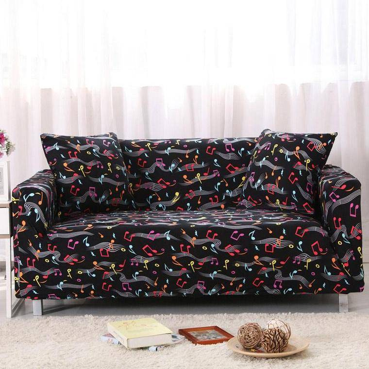 Black Colorful Music Note Pattern Sofa Couch Cover