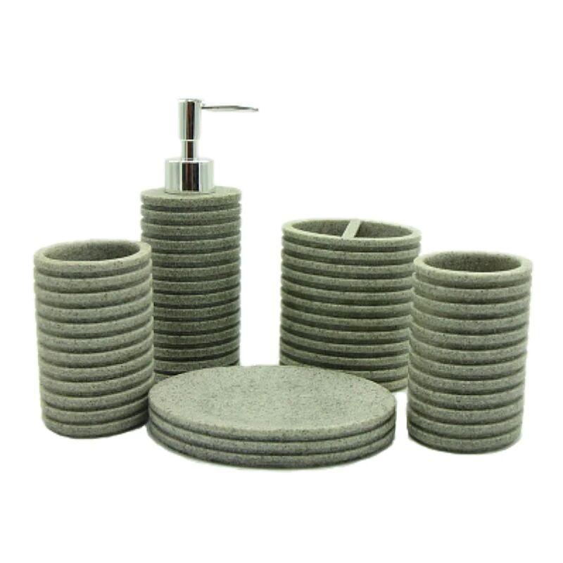 5-Piece Circular Ribbed Resin Bathroom Accessory Set