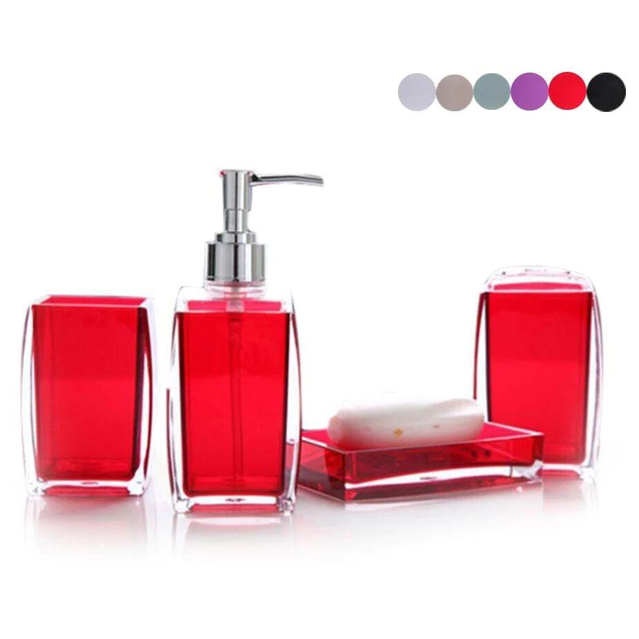 4-Piece Transparent Colored Acrylic Bathroom Accessory Set