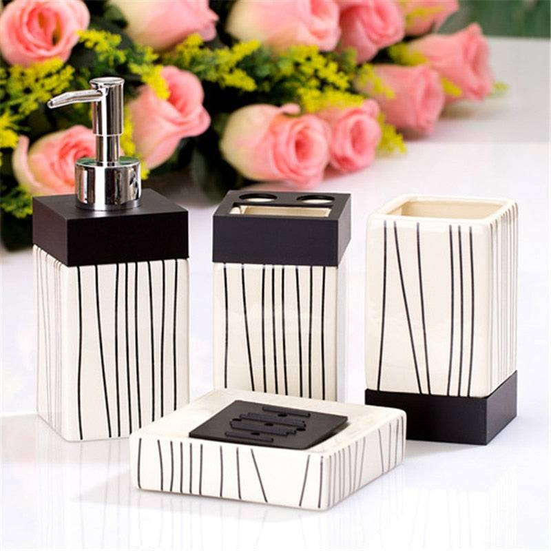 4-Piece Black & White Striped Ceramic Bathroom Accessory Set