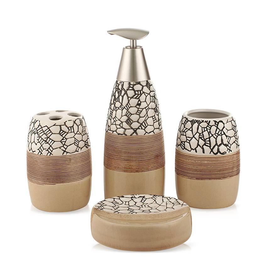 4-Piece Ceramic Stone Pattern Bathroom Accessory Set