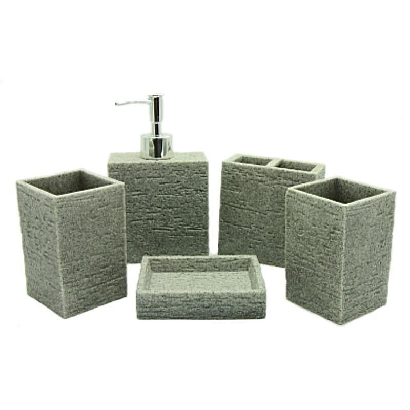 5-Piece Square Stone Finish Resin Bathroom Accessory Set