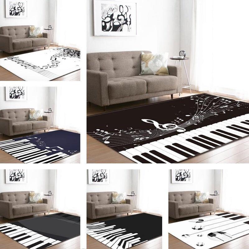Piano Musical Note Print Area Rug Floor Mat