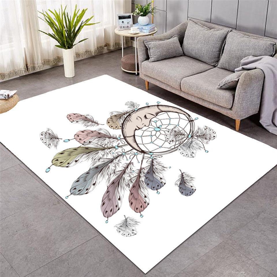 White Moon Dreamcatcher Area Rug Floor Mat
